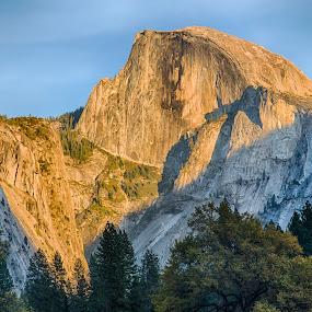 Sun Sets on Half Dome by David Pilasky - Landscapes Mountains & Hills