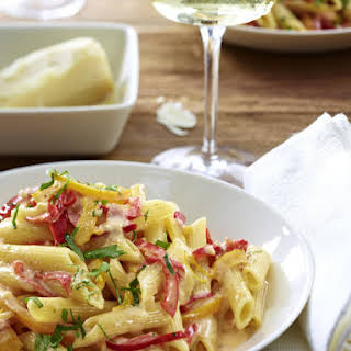 Penne with Bacon, Peppers, and Tomato Cream Sauce.