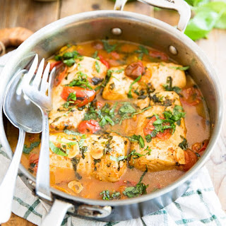 Easy Poached Fish in Tomato Basil Sauce.