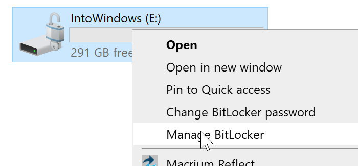 Manage BitLocker option