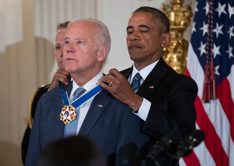 Former US President Barack Obama when he awarded Joe Biden with the medal of freedom.
