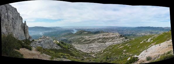Photo: Panoramique depuis la grotte du Grosibou. Garlaban