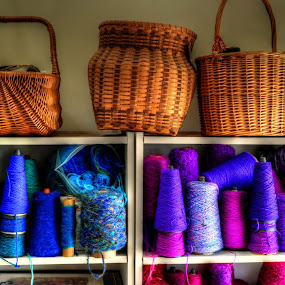 baskets and yarn by Fraya Replinger - Artistic Objects Other Objects ( purple, blue, colorful, basket, baskets, yarn,  )