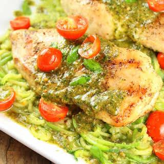 Mozzarella and Pesto Stuffed Chicken with Zucchini Noodles.