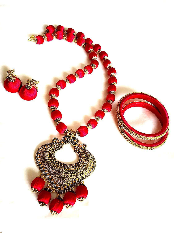 GOELX Antique Necklace, Jhumki and Bangles