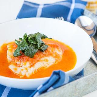 Cod with Kale & Fresh Tomato Sauce.