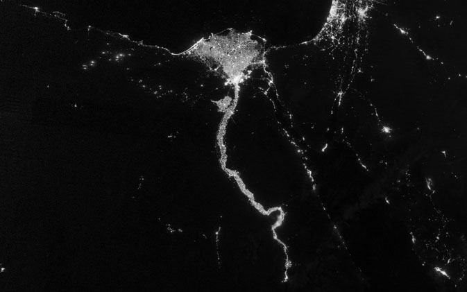 Photo: This image shows the Nile River Valley and Delta