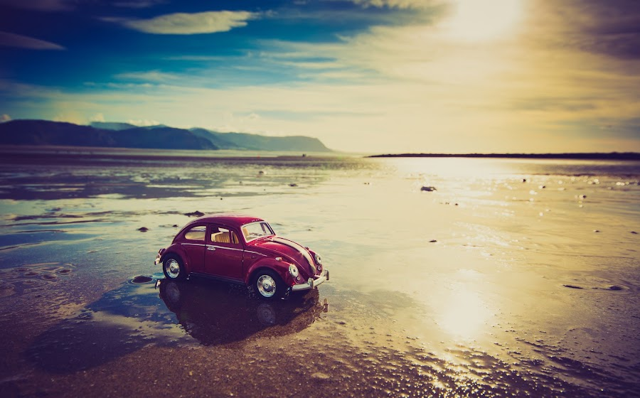 Sand Beetle by Mike Shields - Landscapes Beaches ( vw, water, sand, red, sunset, modelcar, wet, beach, beetle )