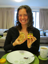 Photo: Then we had afternoon tea at Phill's. Of course we had to try Vegemite. Its a spread made from brewer's yeast extract. You spread it on bread. It tasted like spreadable salt...