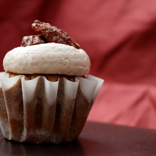 Pumpkin Cupcakes With Cinnamon Frosting And Spiced Pecans