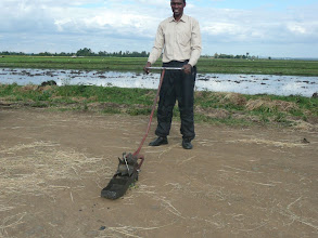 Photo: John Kinyanjui shows off the detachable weeder he made based on a Japanese design. [Photo Courtesy of Bancy Mati]