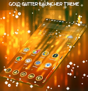 Gold Glitter Launcher Theme - náhled