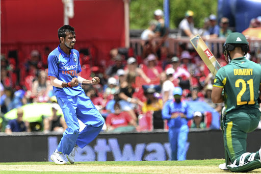 Yuzvendra Chahal of India celebrates the wicket of SA's JP Duminy during yesterday's second Momentum ODI in Centurion. Chahal returned figures of 5/22 as India won.