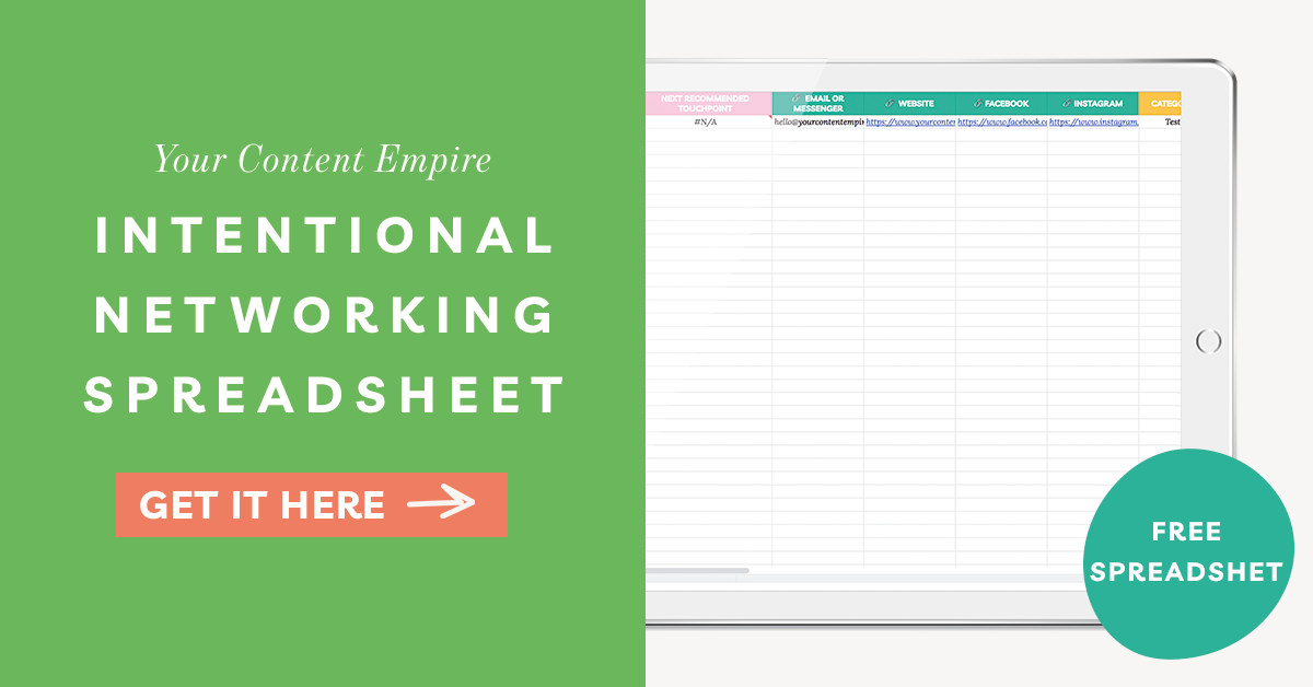 Intentional Networking Template by Your Content Empire