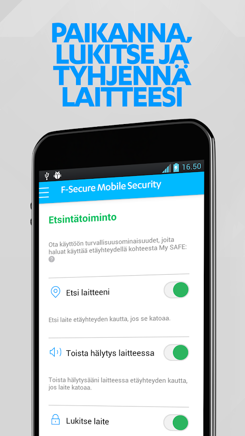 F-Secure Mobile Security – kuvakaappaus