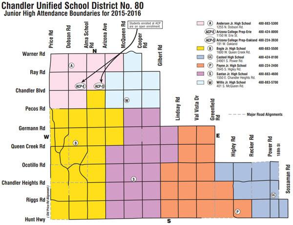 Chandler Unified School District Boundaries Map Phoenix AZ Real