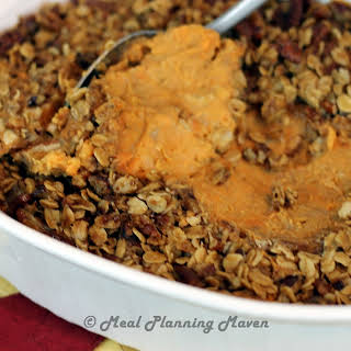 Roasted Banana 'n Sweet Potato Mash with Pecan Streusel.