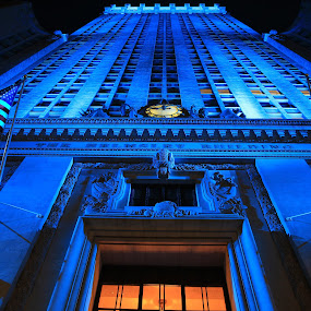 New York, New York! by Liesl Ross Photos - Buildings & Architecture Office Buildings & Hotels ( cool, gotham, blue, night, new york, nyc )