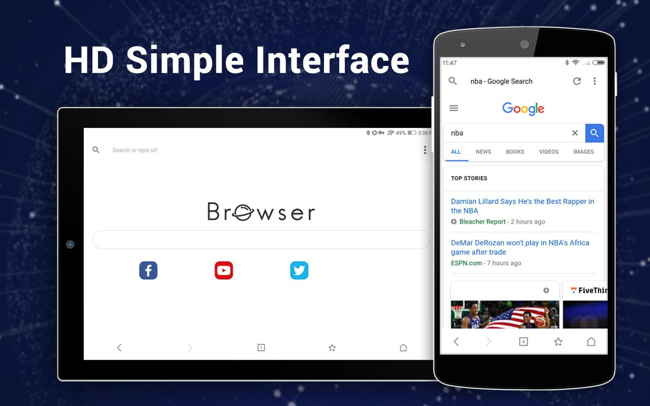 Browser for Android screenshots