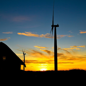 Windy Home by Bong Flores - Buildings & Architecture Homes ( silhouette, sunset, windmills )