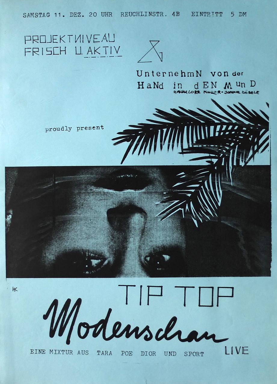 """Photo: Einladung/Plakat Fotokopie DIN-A5/A3, blau 11. Show der Reihe """"UnternehmN von der HaNd in dEN Mund"""" © Hannelore Kober, 1982"""