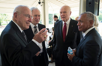 Photo: Apollo 13 Astronaut Jim Lovell, left, former NASA Administrator Dan Goldin, Sen. John Glenn, third from left, and NASA Administrator Charles Bolden, right, talk at a private memorial service celebrating the life of Neil Armstrong, Aug. 31, 2012, at the Camargo Club in Cincinnati. Armstrong, the first man to walk on the moon during the 1969 Apollo 11 mission, died Saturday, Aug. 25. He was 82. Photo Credit: (NASA/Bill Ingalls)