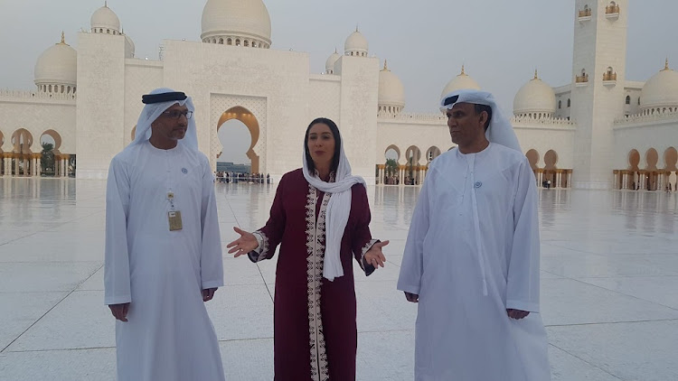 Israeli minister of culture and sport Miri Regev (centre) visits the grand mosque in Abu Dhabi, UAE, October 28 2018. Picture: CHEN KEDEM KAKTUBI/REUTERS