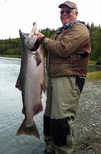 Photo: John Anderson and his bright and shiny Kasilof river King salmon.