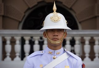 Photo: Although not gilt, this guard at the nearby secular palace stood nearly as still as the statues while I photographed him.