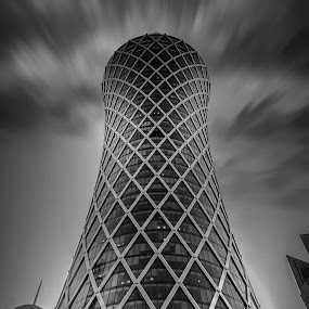 Twister Tower by Agha Rafay - Black & White Buildings & Architecture ( blackandwhite, fineart, monochrome, black and white, uae, doha, fine art, qatar )