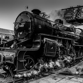 Steam Engine B&W by Jim Keating - Black & White Objects & Still Life ( ramsbottom, lancashire, railway, black and white, east lancs railway, train, steam,  )