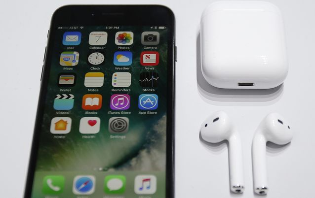 The new Apple iPhone 7 and Apple AirPods during the product viewing after the Apple launch event at the Bill Graham Civic Auditorium in San Francisco, California, USA, 07 September 2016. Picture: EPA/MONICA DAVEY
