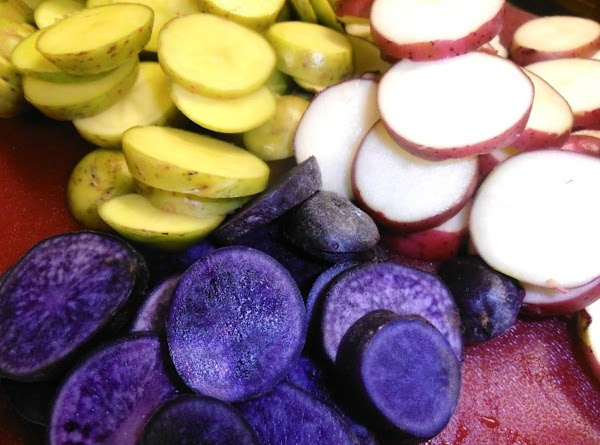 Slice potatoes.  Boil potatoes unitl fork tender