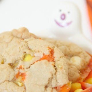 Candy Corn White Chocolate Chip Cookies.