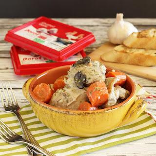 Crockpot Creamy Garlic Chicken with Vegetables.