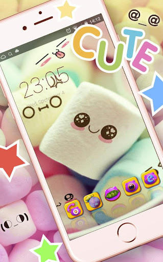 Cute Marshmallow cartoon Theme for android free 3.9.9 screenshots 1