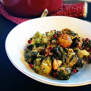 Roasted Brussel Sprouts with Apples and Chestnuts.