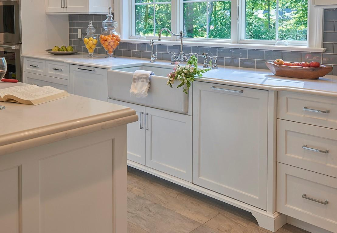 The features in this remodeled kitchen make it a perfect example of transitional style