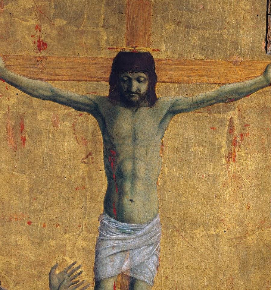 Piero della Francesca, Polittico della Misericordia, Crocifissione, (dettaglio Cristo)