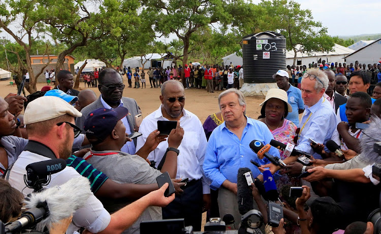 UN Secretary-General Antonio Guterres addresses the media after his tour of Imvepi, where South Sudanese refugees have settled, in northern Uganda on Thursday. Picture: REUTERS