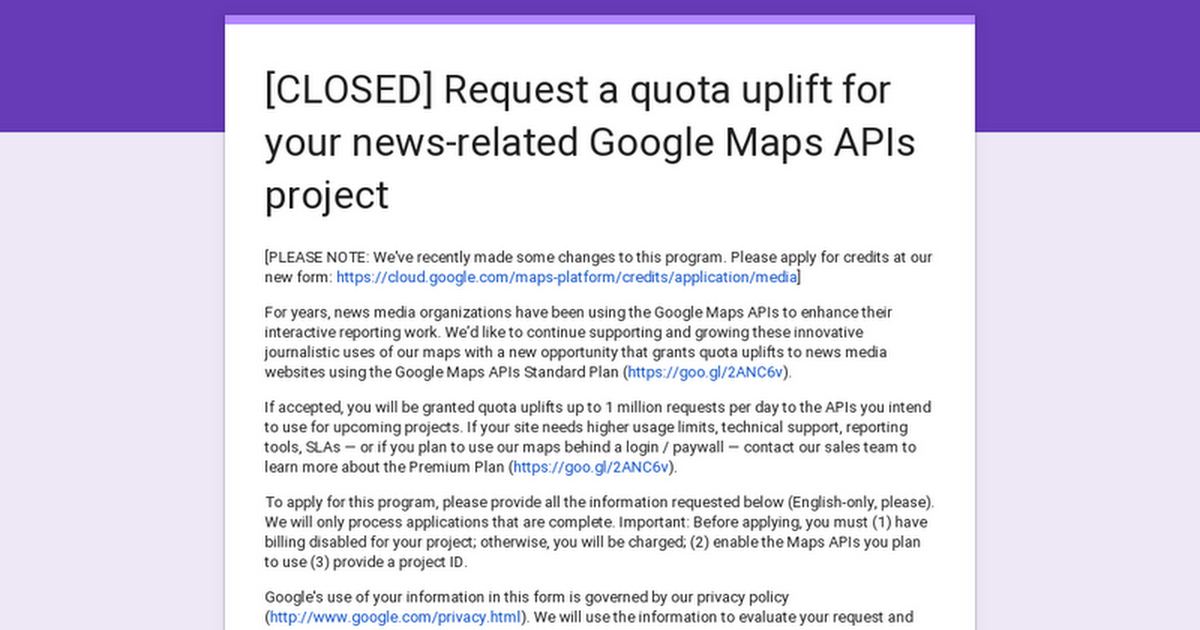 Request a quota uplift for your news-related Google Maps APIs project