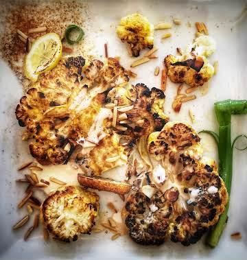 Roasted Cauliflower with Lemon- Tahini Sauce