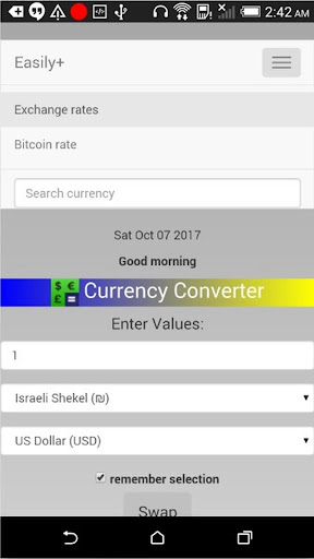 Currency Converter Easily+ Applications pour Android screenshot