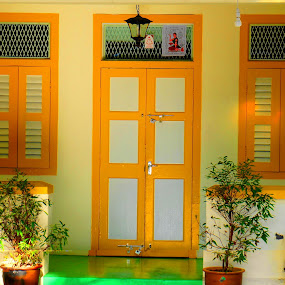Old House at Penang by Adam Ling - Buildings & Architecture Homes ( old house, window, penang, door, yellow, house )