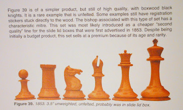 Photo: Extract from 'Jaques and British Chess Company chess Sets' by Professor Sir Alan Fersht, concerning this sort of set.  (Reproduced here with his kind permission)