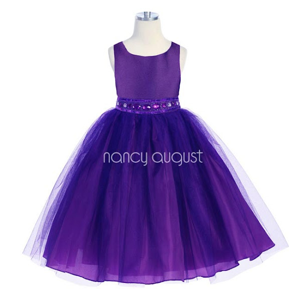 Photo: #Purple Flower Girl Dress with Rhinestone And Tulle Skirt: This gorgeous purple rhinestone flower girl dress features a taffeta bodice and tulle skirt with additional netting underneath for a full volume #ballerina skirt look. The waistline is embellished with elegant purple rhinestone jewels, delicate beading, and sequin. Your little girl will be the belle of the day in this rare purple flower girl dress. Whether she is a flower girl or simply attending a #special event.