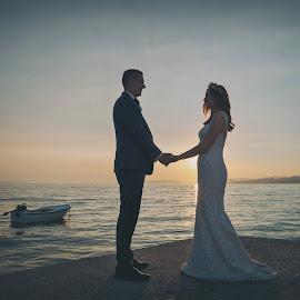 by Zeljko Marcina - Wedding Bride & Groom ( croatia, bride, love, groom, split, seaside, wedding, sea )