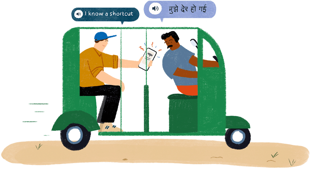 """A tourist in an auto rickshaw is using his smartphone to translate a sentence for his driver. Speech bubbles above them translate the words """"I know a shortcut."""""""