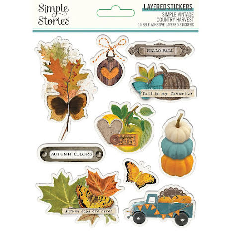 Simple Stories Layered Stickers 14/Pkg - SV Country Harvest