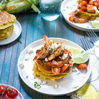 Corn Cakes with Shrimp and Tomatoes